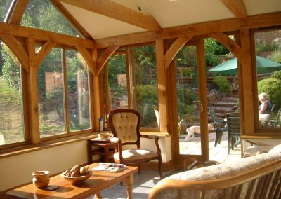 inside of a lovely wooden conservatory