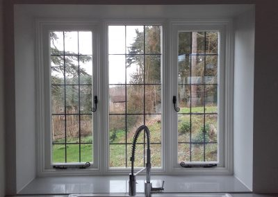 timber window with lead design