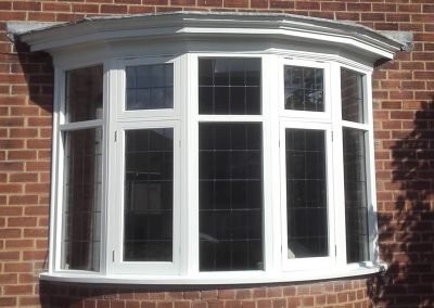 timber bay window with lead design