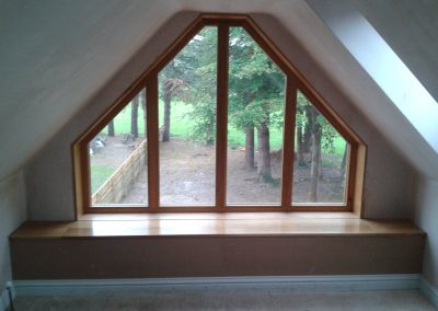 stained gable end frame